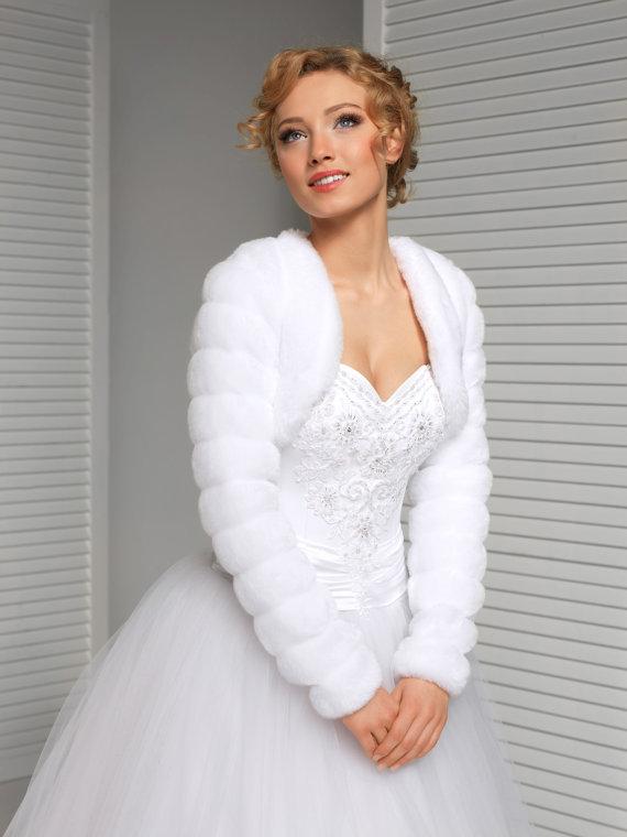Fluffy Winter Faux Fur Short Jacket Warm Bridal White Ivory Black