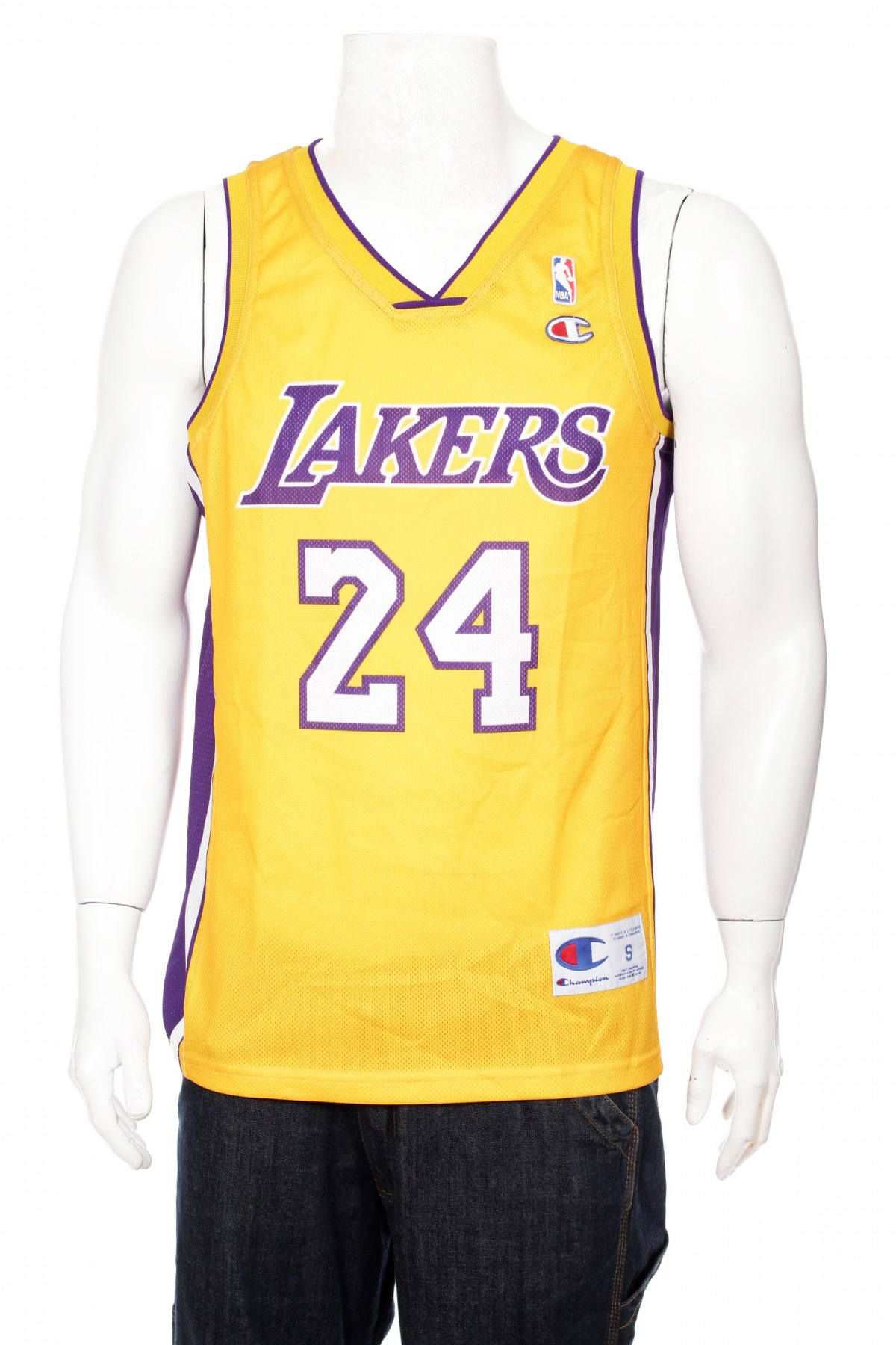 6cfca1b595a4 ... Rare Vintage Champion Kobe Bryant 24 Yellow Los Angeles Lakers NBA  Jersey Size ...