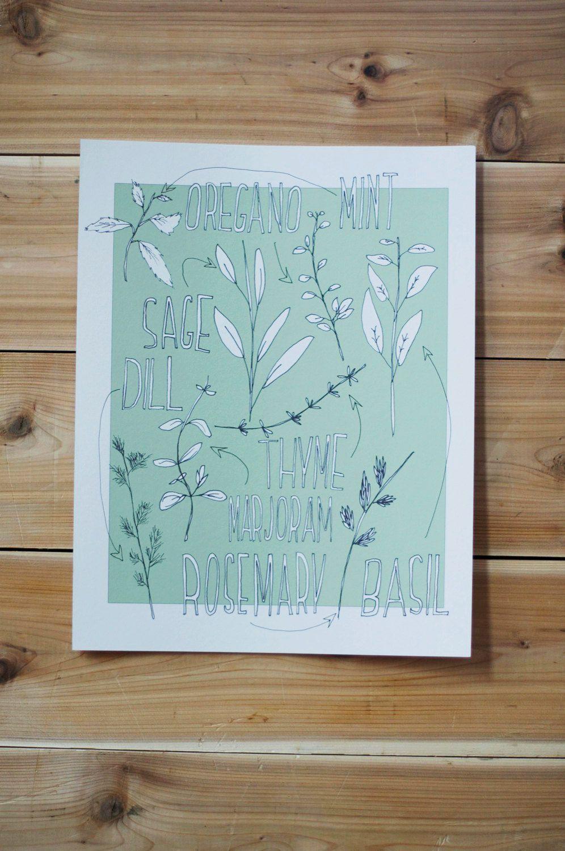 Kitchen herb wall art - 11x14 botanical garden poster print | Herbs ...