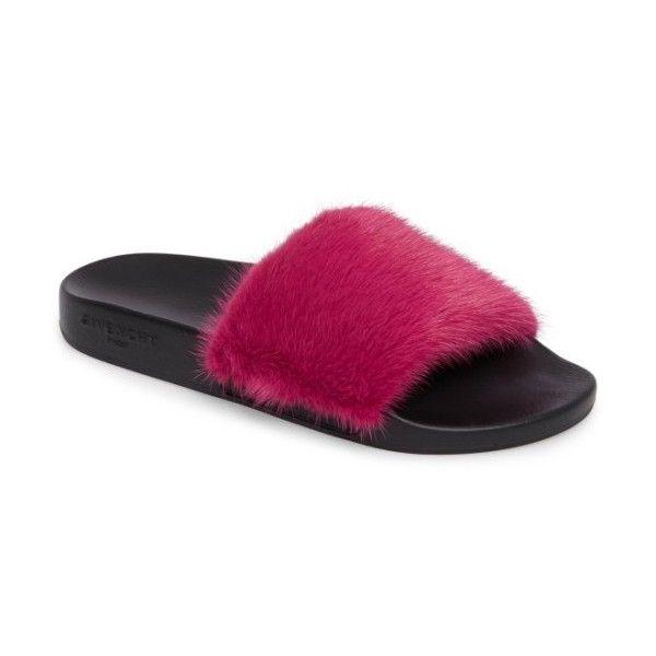 d01deda7da84 Women s Givenchy Genuine Mink Fur Slide Sandal ( 595) ❤ liked on Polyvore  featuring shoes