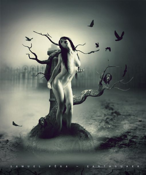 Dark gothic nude art