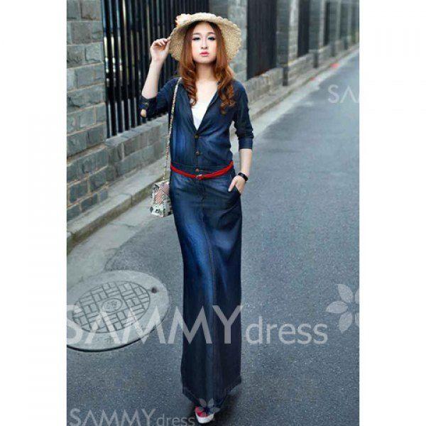 $17.81 Noble Shrit Collar Slimming Clipping Denim Long Dress For Women