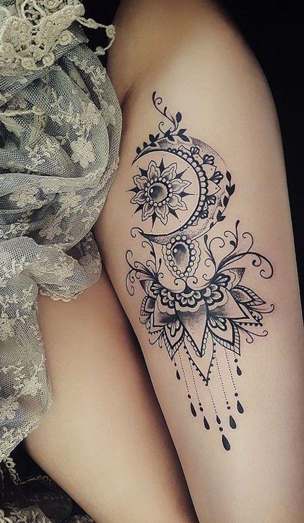 Idee del tatuaggio della coscia della mandala della luna per le donne #Tatuaggio della coscia #Women