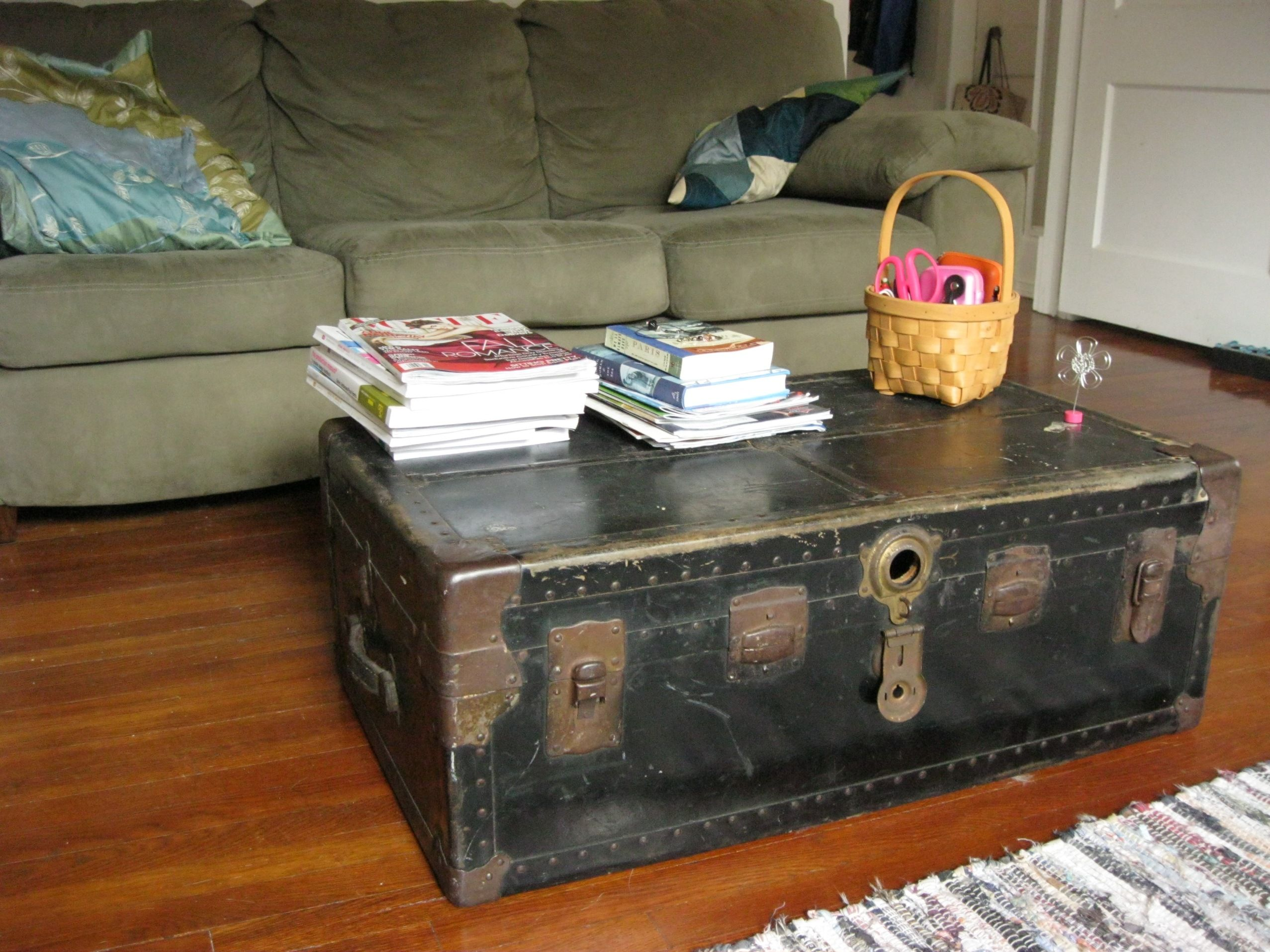 Creative Coffee Tables Style Fashion This Steam Trunk Combined With Gray Fabric Sectional Sofas On Brown Wooden Floor With Coffee And End Tables With