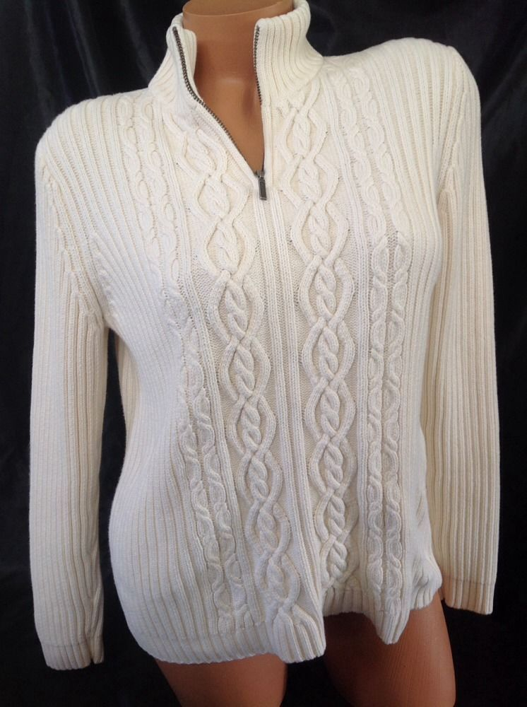 Lands End Sweater Small S Women Mock Neck Half Zip Cable Knit Cream Ivory