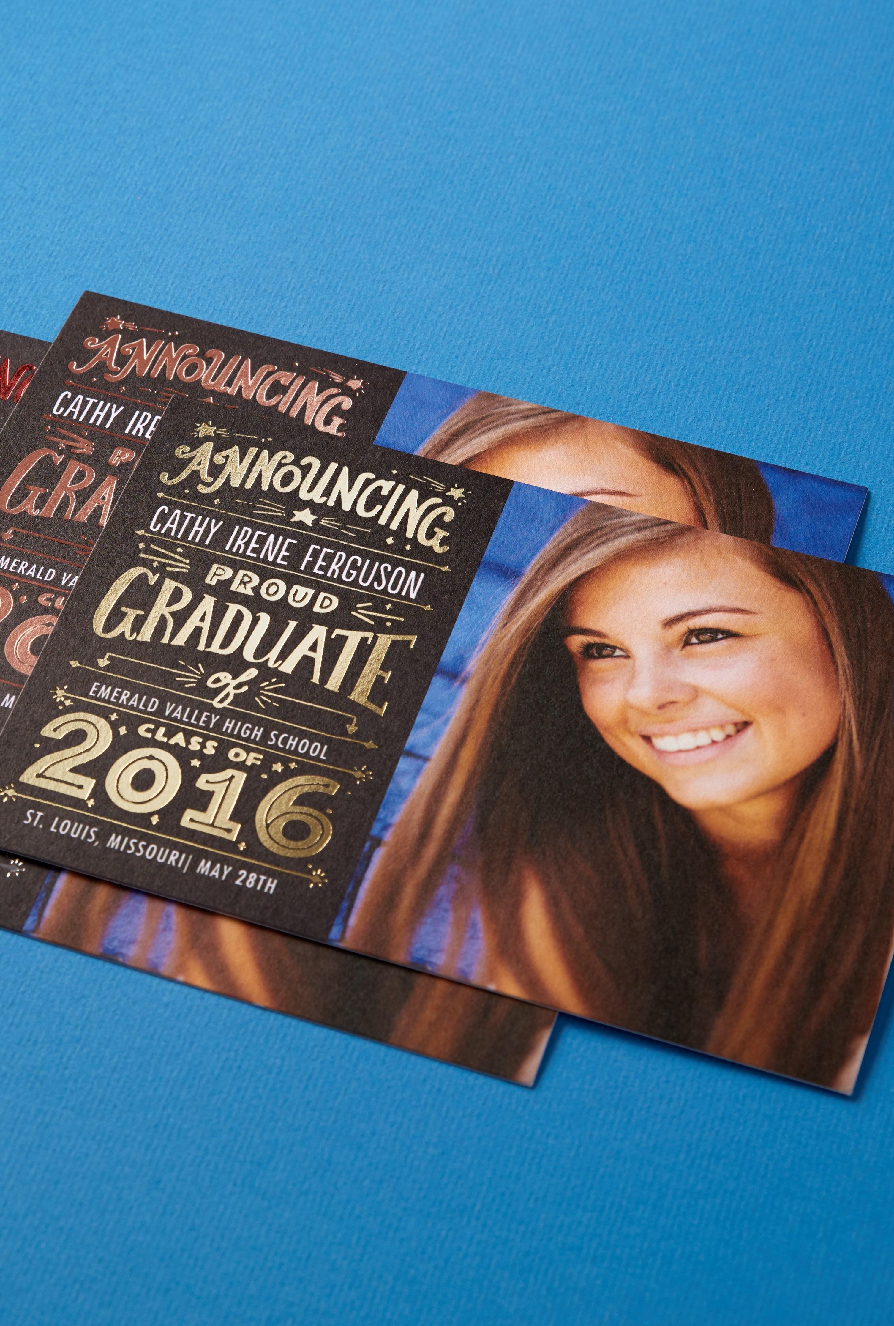 Victorious Win Foil Stamped Graduation Announcements