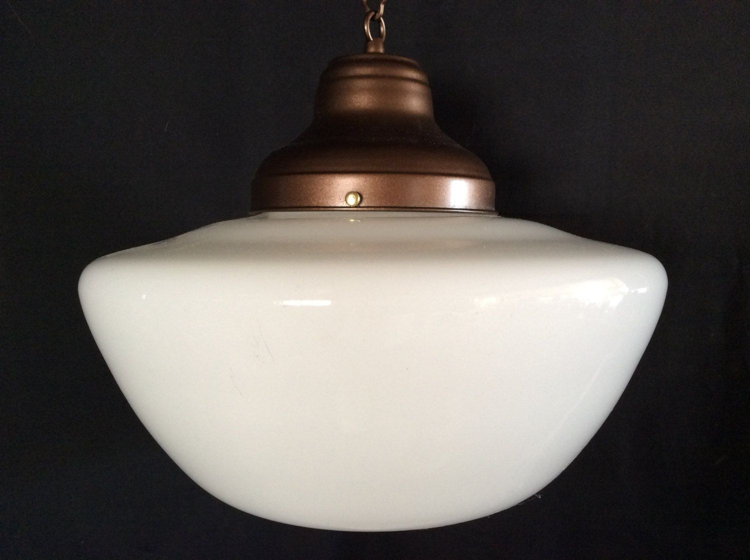 Antique hanging church industrial or school house pendant light antique hanging church industrial or school house pendant light fixture 1920 1930s milk glass arubaitofo Gallery