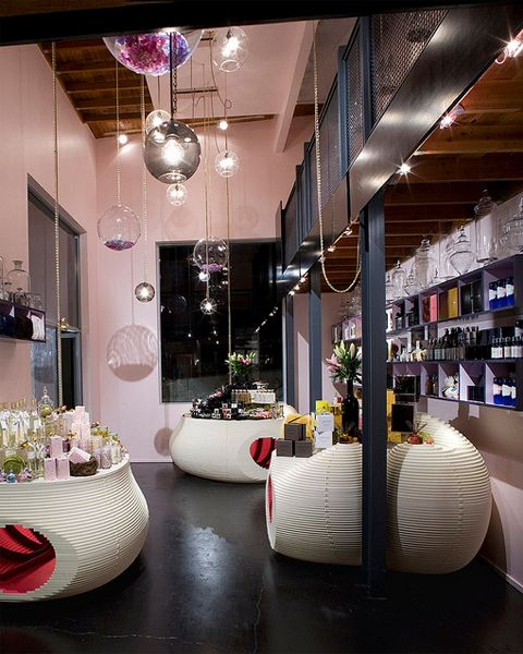The ladg los angeles design group designed a luxury retail space with custom lighting