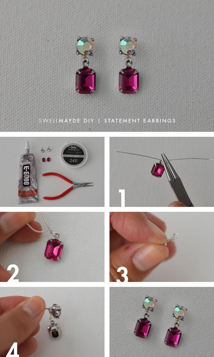 diy | rhinestone statement earrings | diy | pinterest | craft