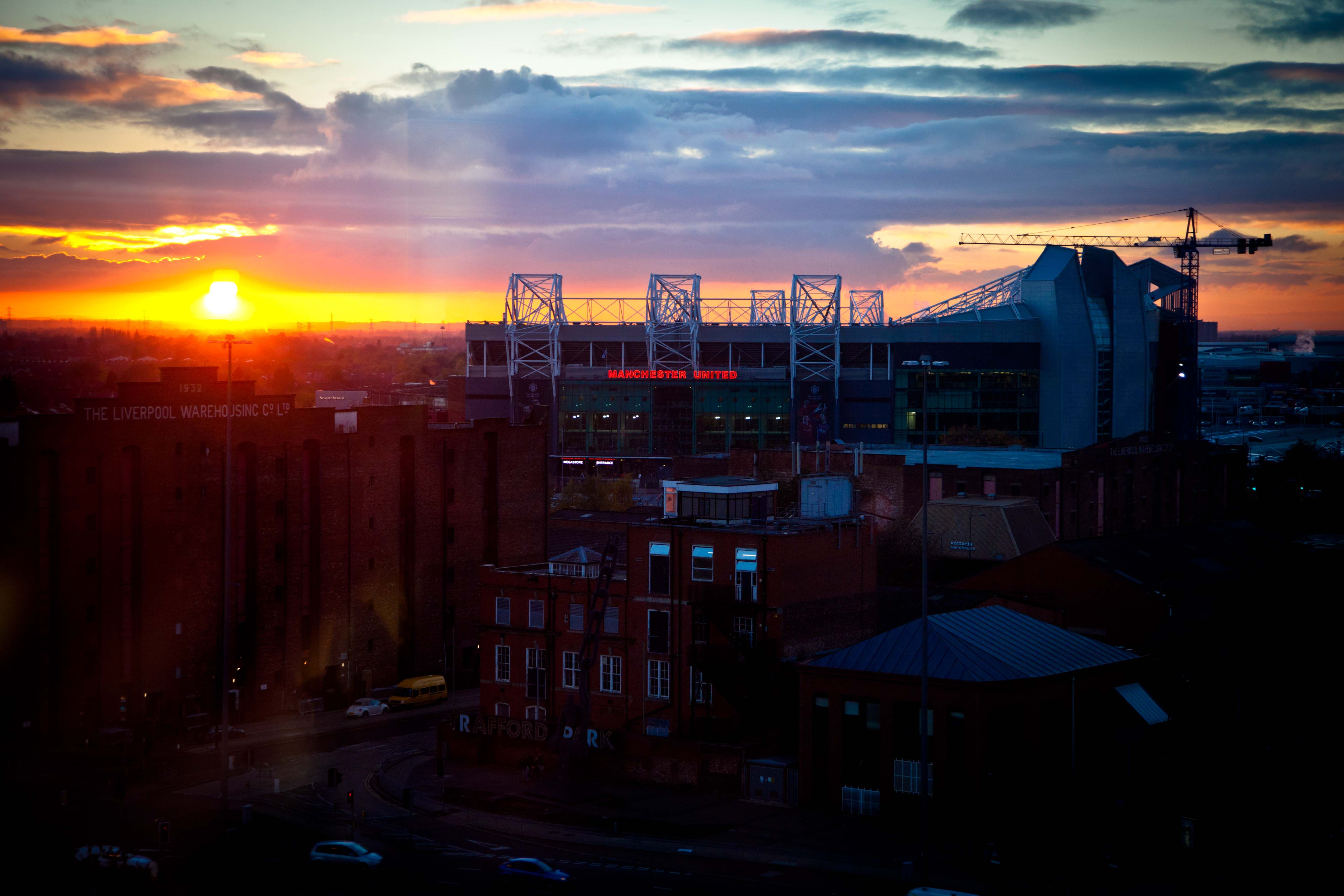 Salford Sunset And Manchester United Old Trafford Window View Manchester United Old Trafford West Virginia Manchester City