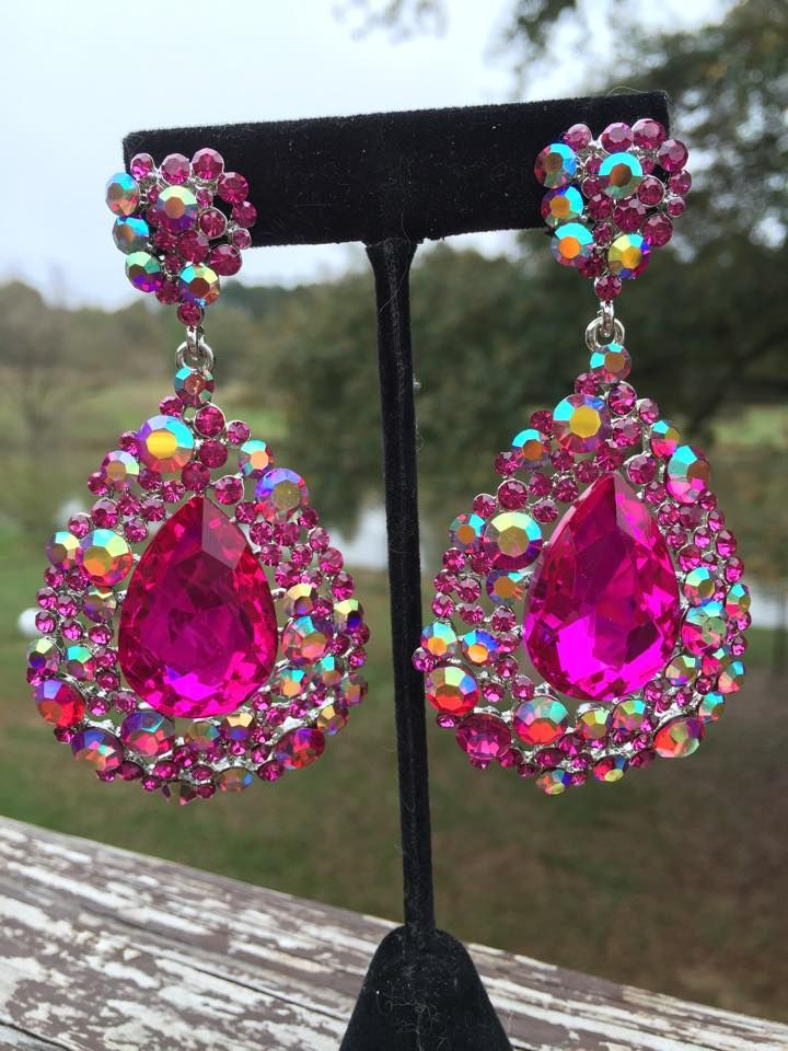 Stunning Fuchsia Hot Pink Earrings From L M Bling 3 25 Long Earrings Lmbling Fuchsiaearrings Hotp Hot Pink Earrings Pink Earrings Hot Pink Accessories
