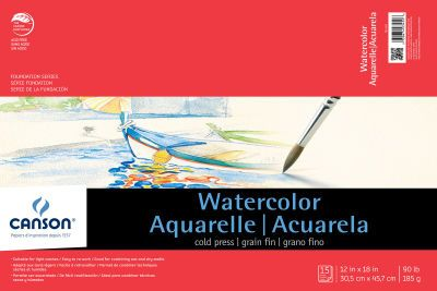 Canson Foundation Series Watercolor 12x18 Pad 15 Sheets On Sale