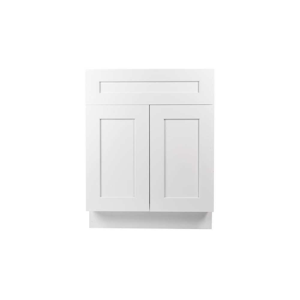 Plywell Ready To Assemble Shaker 24 In W X 21 In D X 34 5 In H Vanity Cabinet With 2 Doors In White Swxva242134 The Home Depot