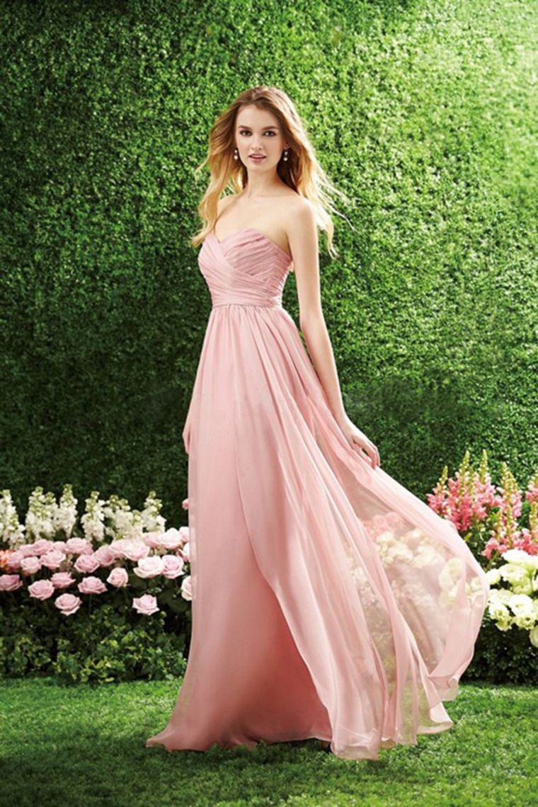 Sweetheart pleated and fitted bodice a line dress full length pick