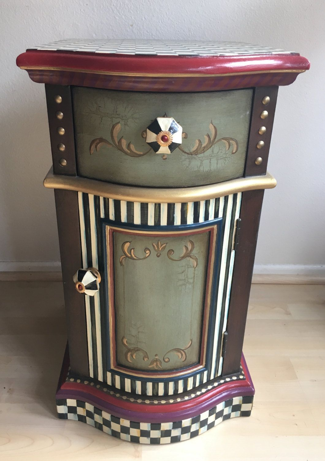 Whimsical Mackenzie Childs Inspired End Side Table Cabinet