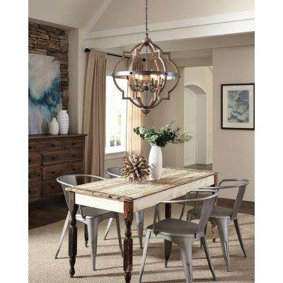 Socorro 25 In W 6 Light Weathered Gray And Distressed Oak Hall Foyer Pendant Rustic Dining Room Lighting Rustic Dining Room Dining Room Lighting