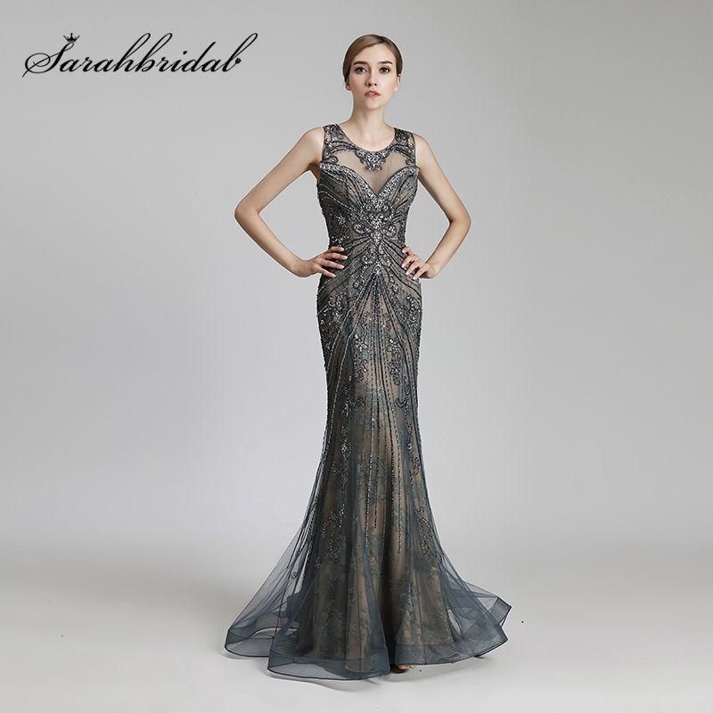 Neues Design Luxus Perlen Lange Mermaid Promi Kleider Vintage Stahl ...