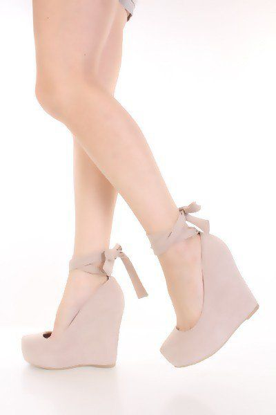 aa11032977e Nude Faux Suede Ankle Tie Sexy Platform Wedges   Amiclubwear Wedges Shoes  Store Wedge Shoes