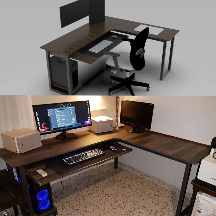 Render vs Real, self made pc desk 9GAG in 2020 (With