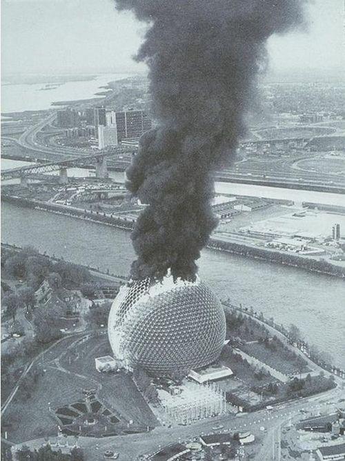buckminster fuller - montreal biosphere, expo 67 (on fire)