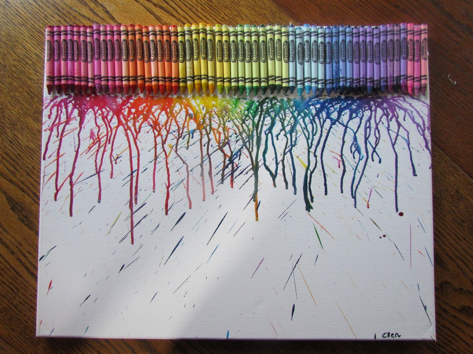 Crayon craft hot glue crayons to a poster board and take for Cool fun projects