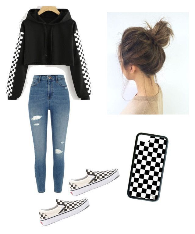CHECKER⚫️⚪️ by haileymagana on Polyvore featuring River Island and Vans #outfits4school