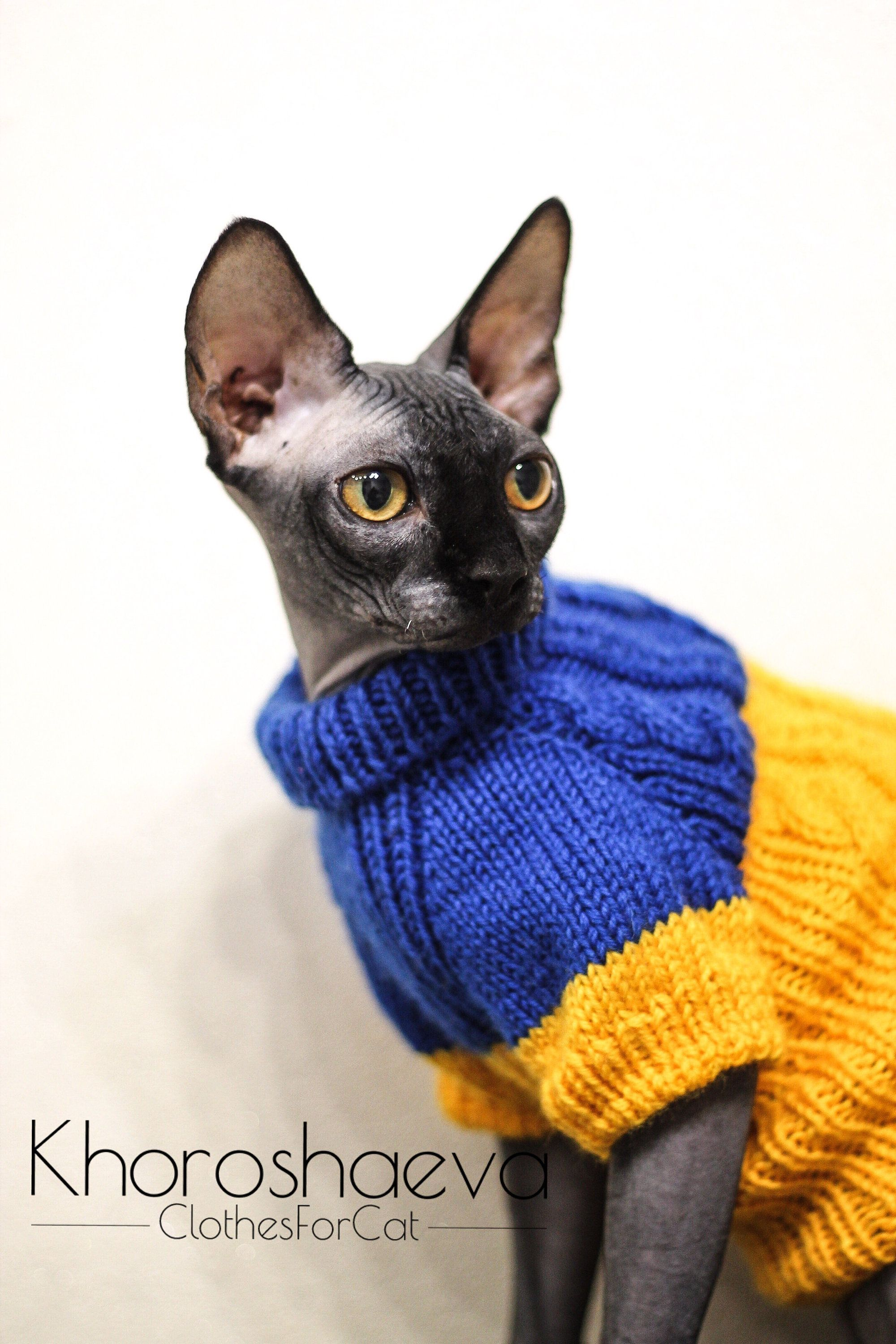 Hand Knitted Sphynx's Sunny Cozy Jumper, Cat's Soft Pullover With Arans, Handmade Sweater Gift For Cat, Cat's Clothes T-shirt For Sphynx