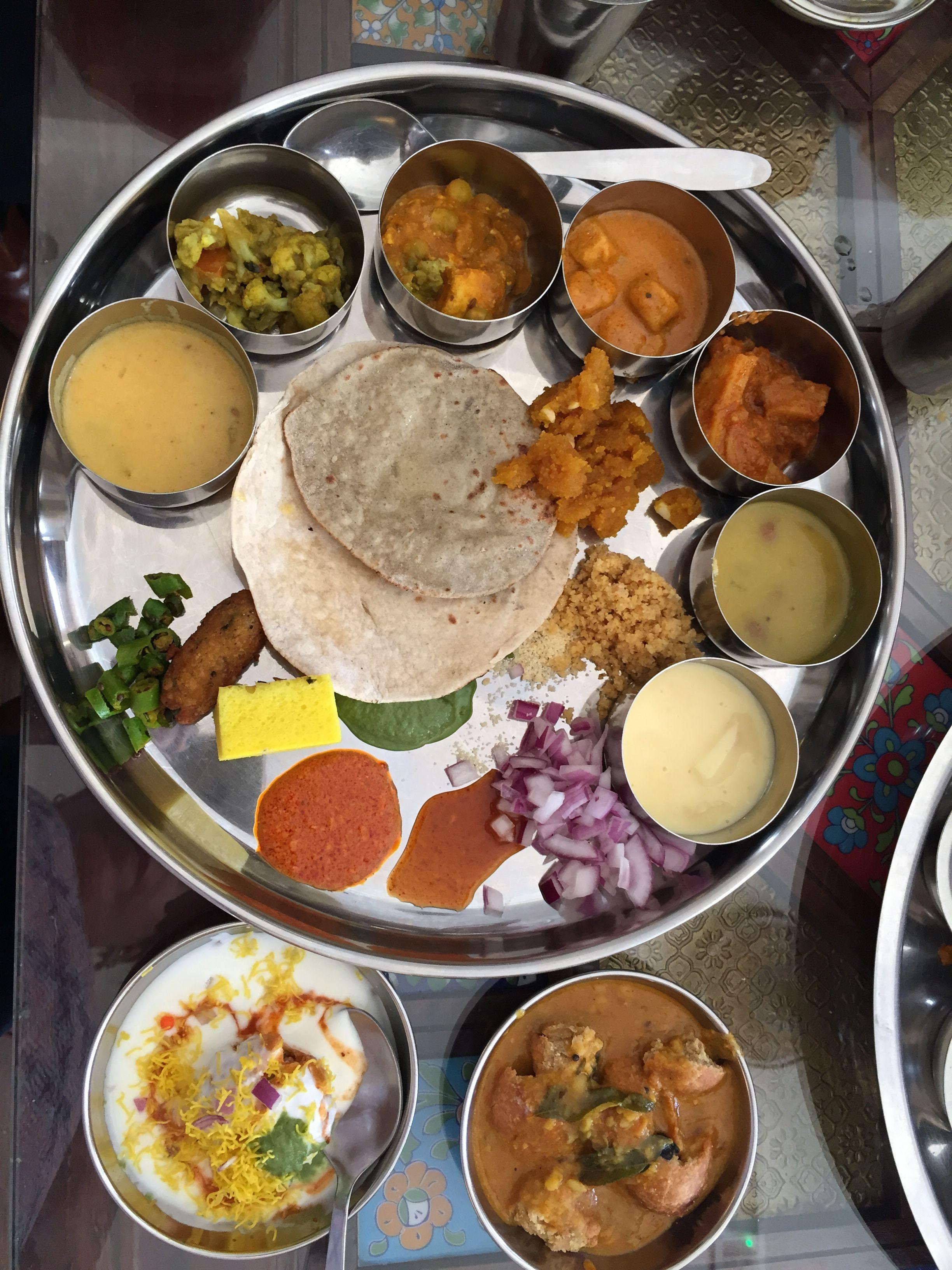 A Rajasthani Vegetarian Thali From Rajasthan Restaurant In Sharjah Uae Indian Food Recipes Indian Cooking India Food