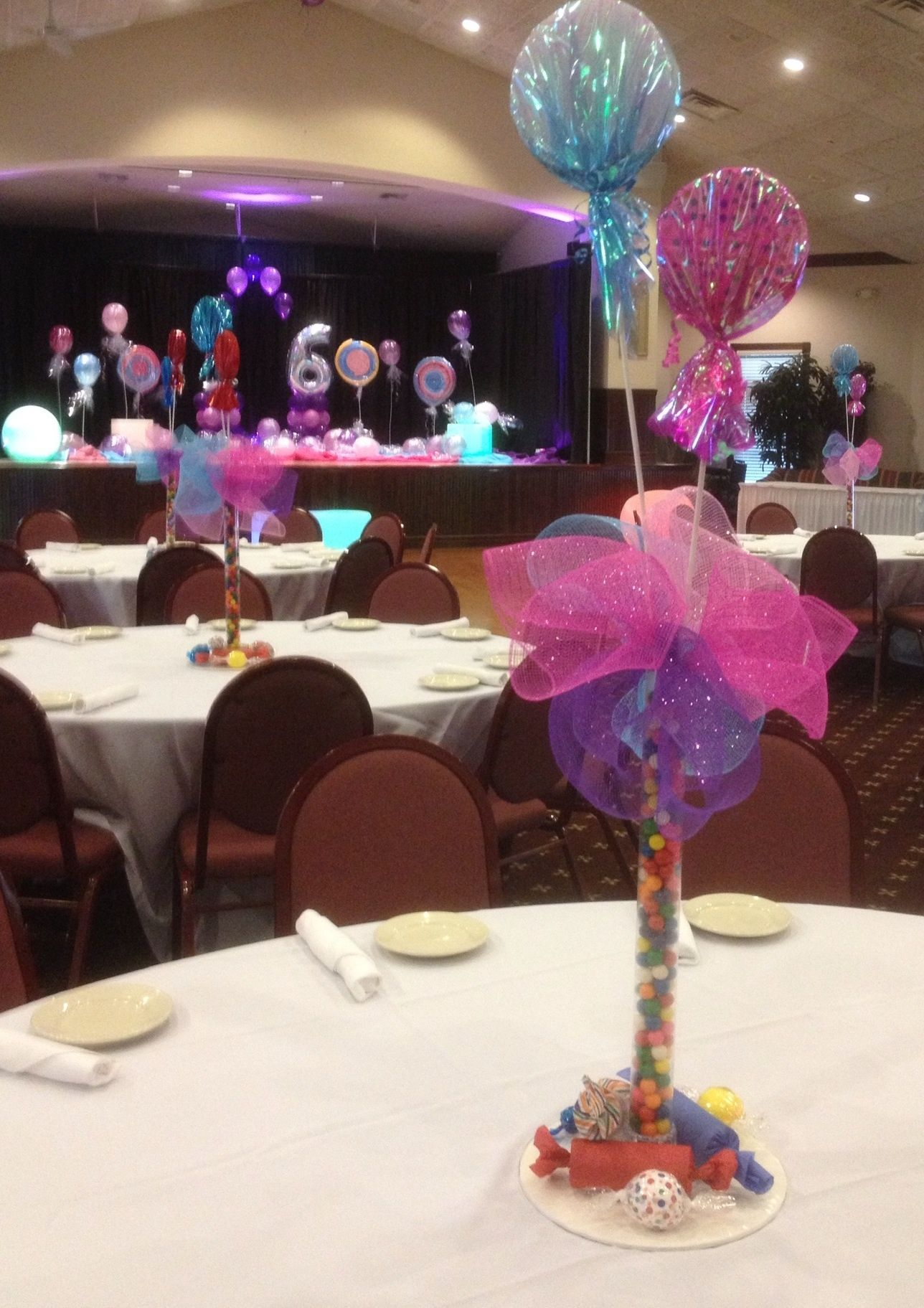 Centerpiece , Vases, Lights, Sweet 16, Balloons, Candy Land Also
