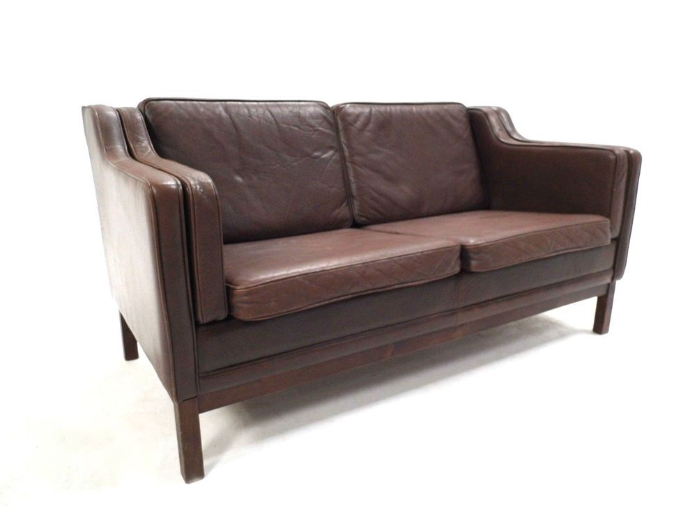 Vintage Danish Mogens Hansen Brown Leather 2 Seater Sofa Midcentury 1960s Sofa 2 Seater Sofa Seater