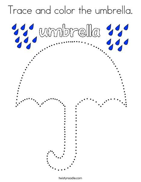 Trace And Color The Umbrella Coloring Page Twisty Noodle Tracing