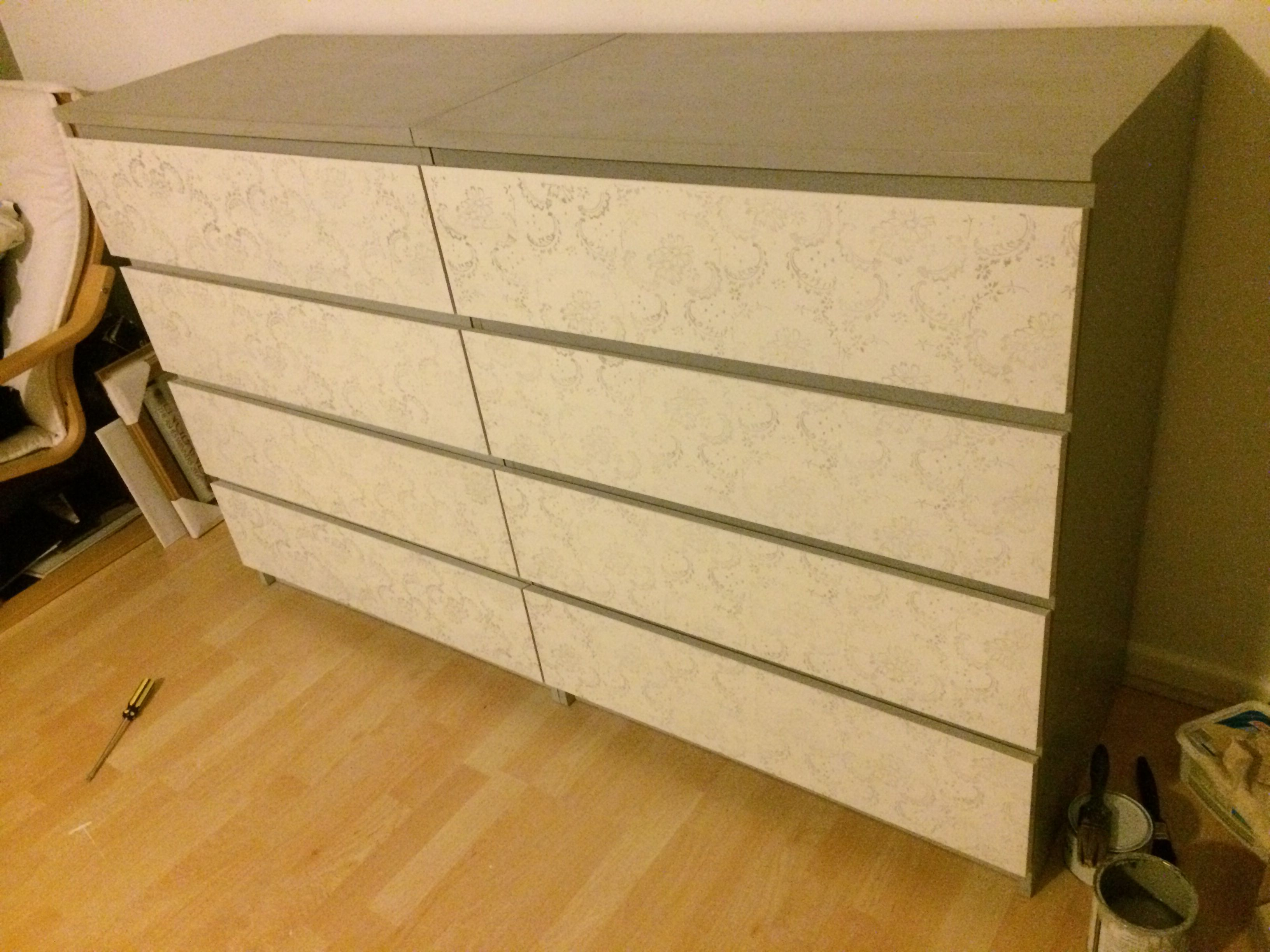 Ikea Oak Malm Dresser Given A Vintage Makeover Painted In Annie Sloan Paris Grey And Old White
