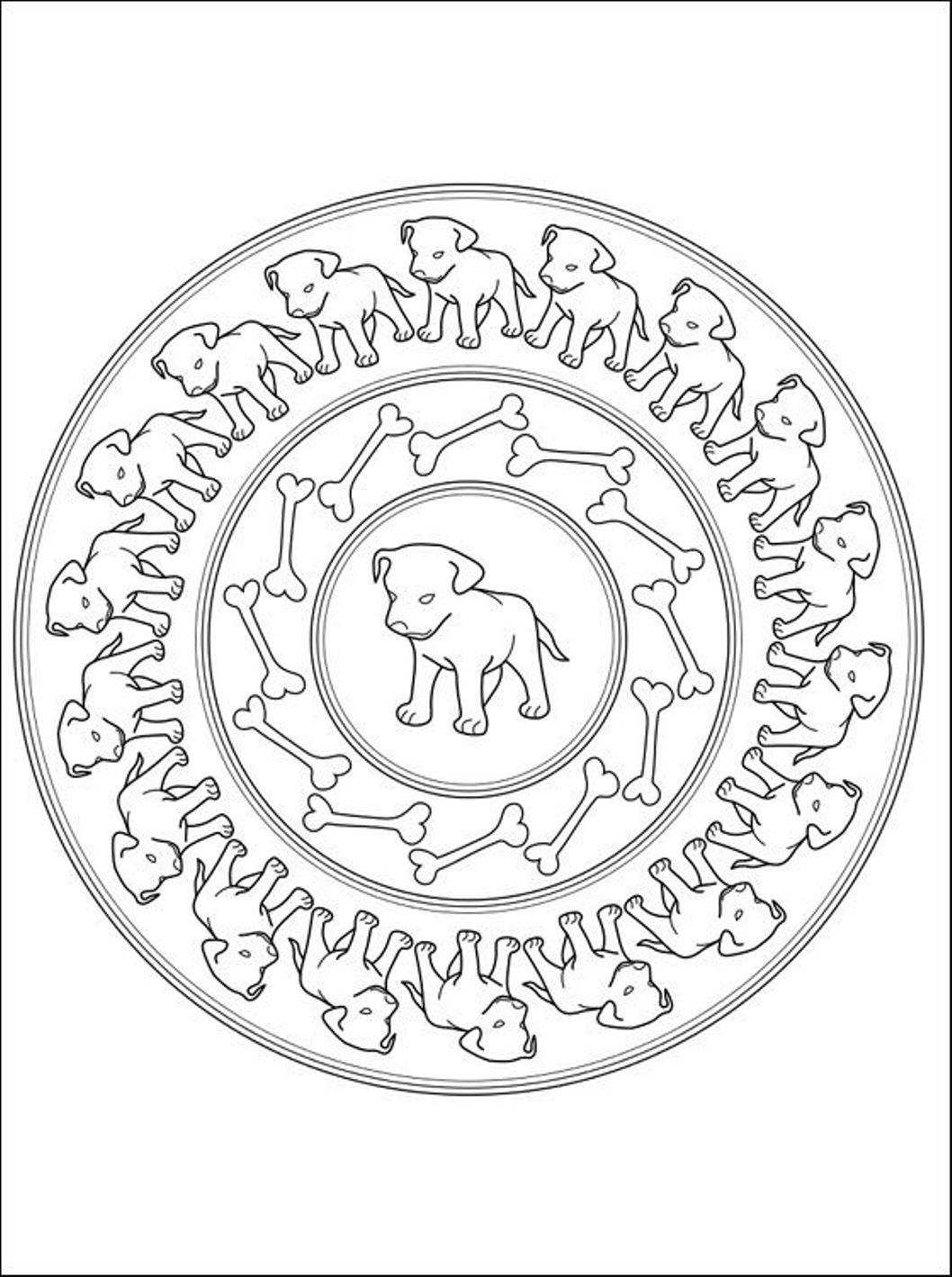 Puppies Mandala Coloring Pages | mandala color pages | Pinterest ...