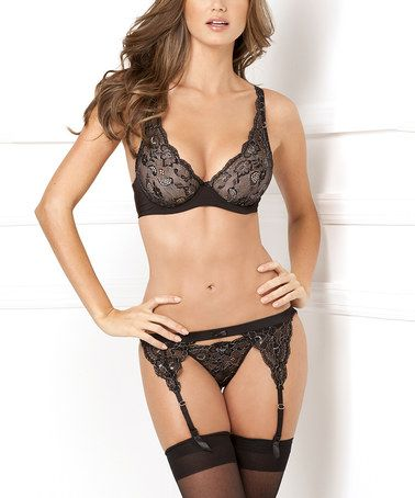 Another great find on #zulily! Black Lace Bralette & Garter Set - Women #zulilyfinds