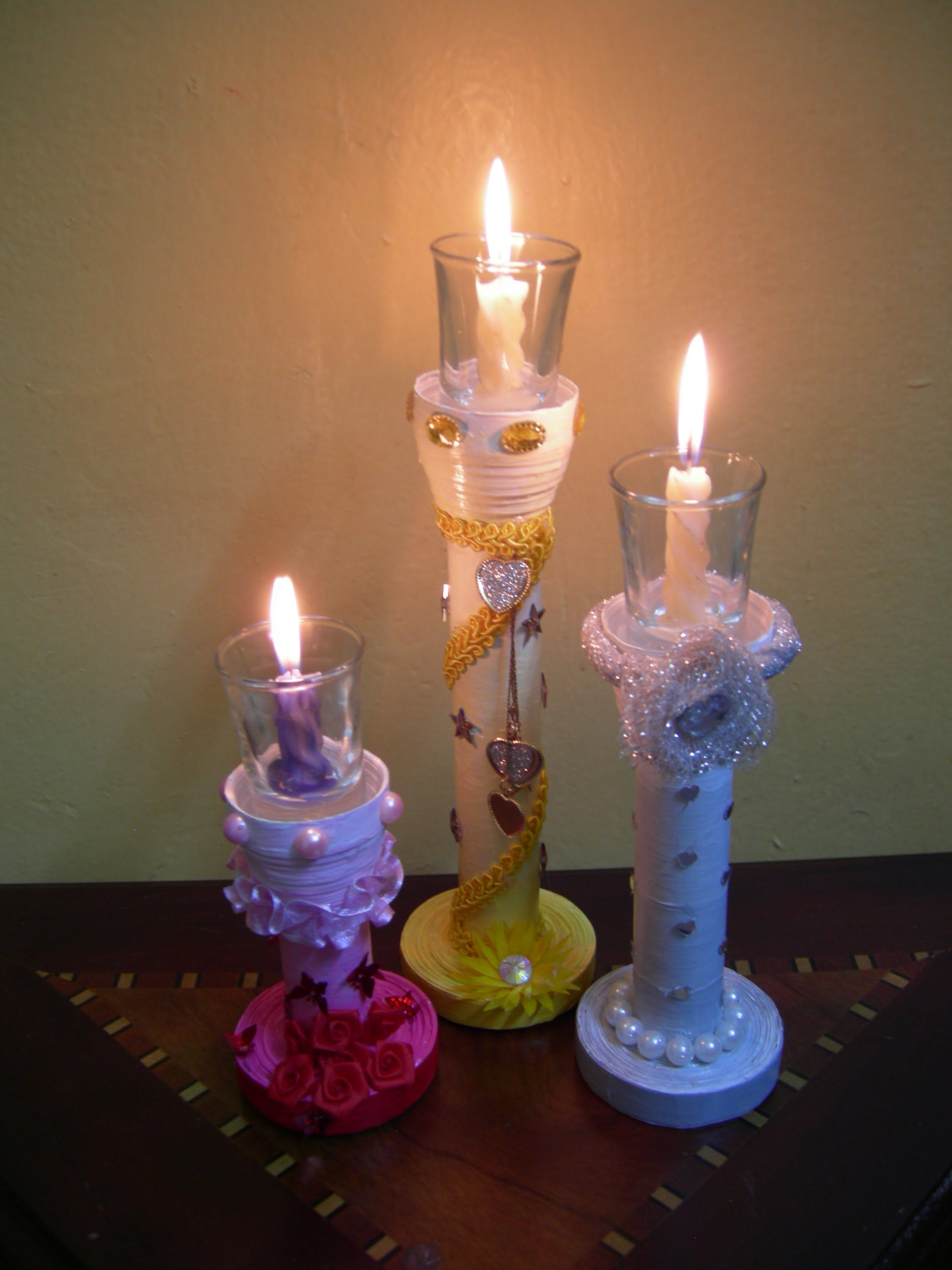 Best out of waste paper colourful candle stands set of 3 for Best out of waste with paper