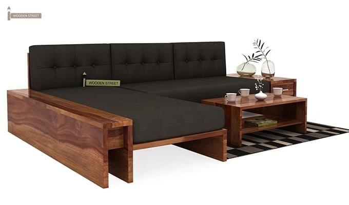 Cortez L Shaped Wooden Sofa Teak Finish 1 Furniture Wooden Sofa Furniture Design