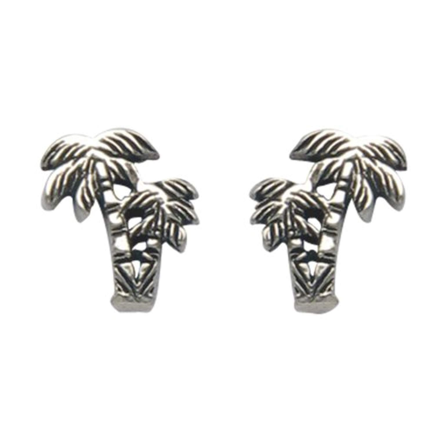 Tiny Sterling Silver Palm Tree Stud Earrings Click On