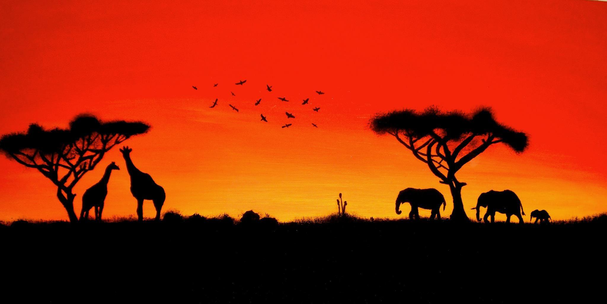 Sunset シルエットアート, アフリカのアート, ランドスケープアート