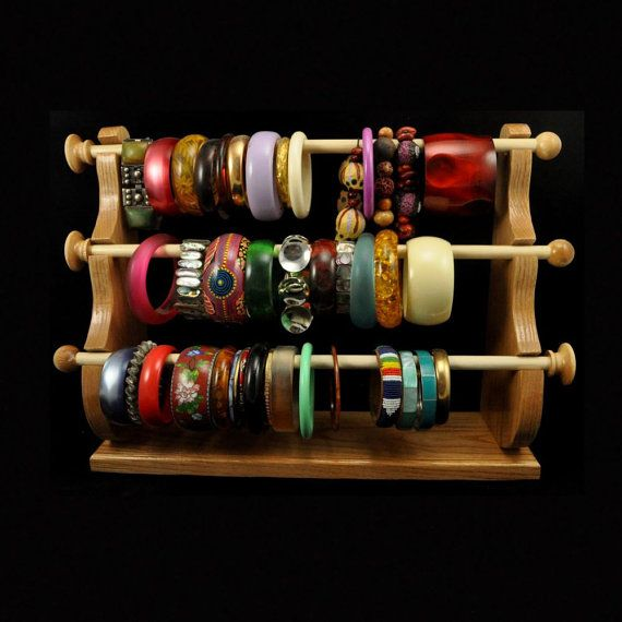 Standing Bracelet Holder Organizer Storage Display Oak on Etsy, $37.95