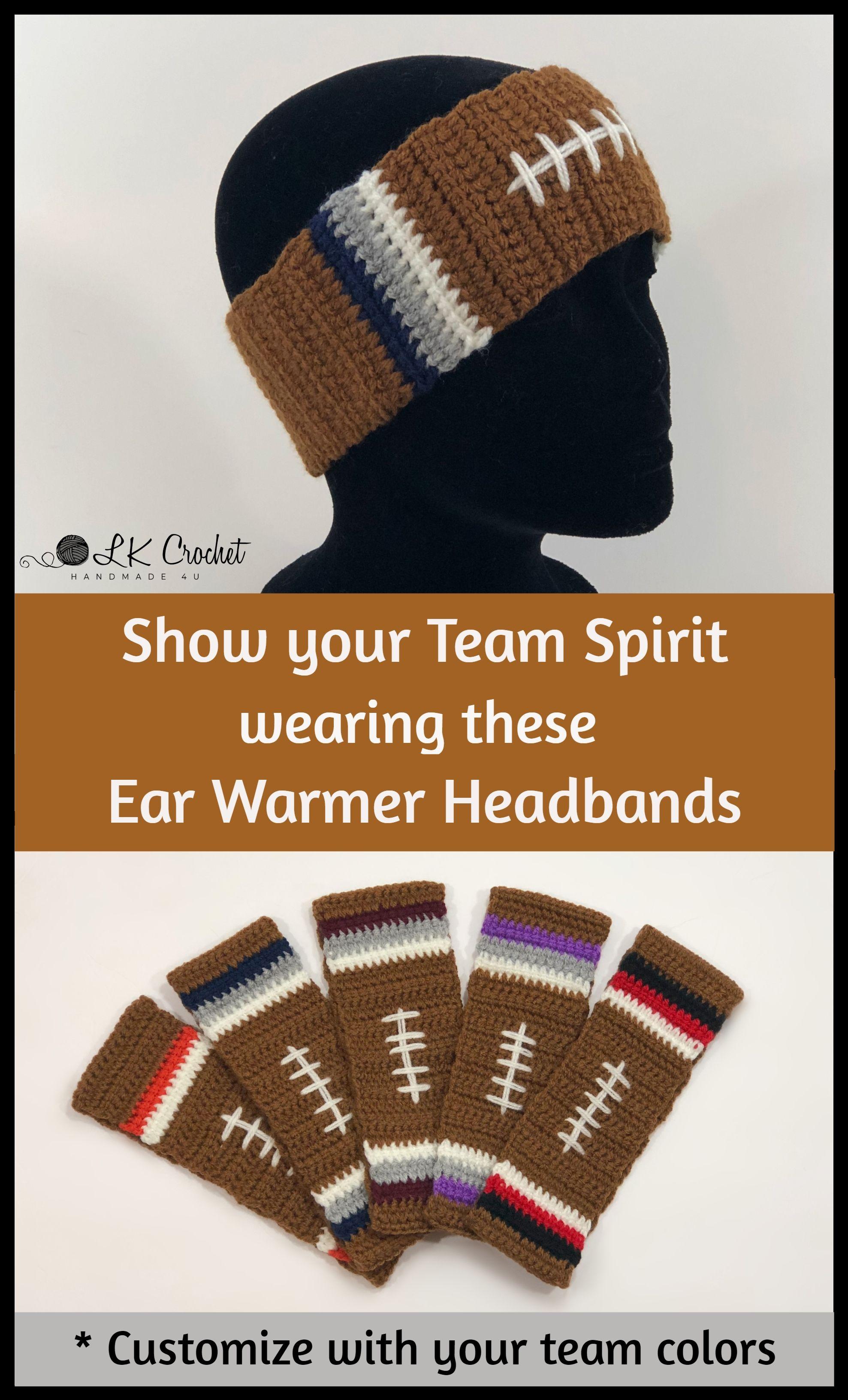 Crocheted Football Team Ear Warmer Headbands  8a4dc875d