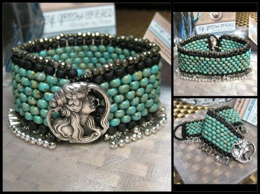 """Peyote Stitched """"Lady"""" Bracelet with Pyrite Gemstones, Seed Beads and Seed Findings 