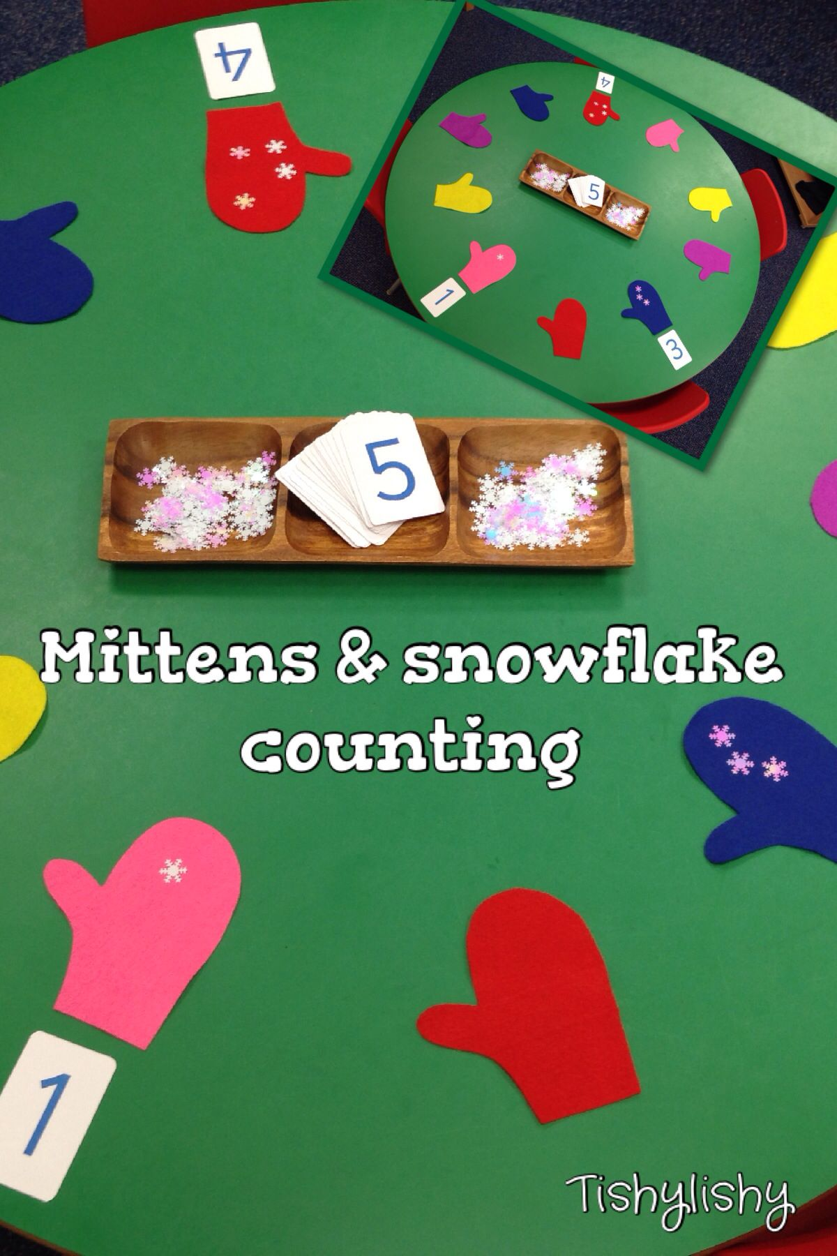 Counting Snowflakes Onto Felt Mittens