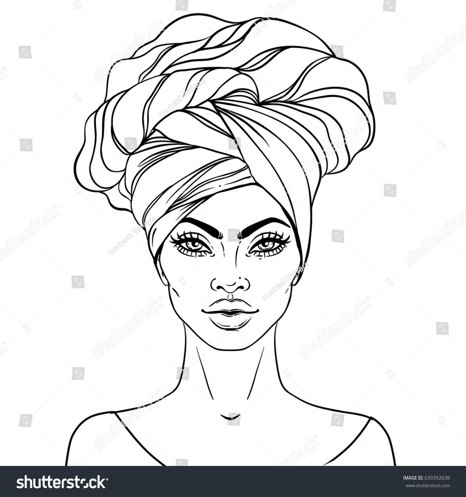 African American Pretty Girl Vector Illustration Of Black Woman With Glossy Lips And Turban Great For Avatars Illustration Coloring Books Art Coloring Pages