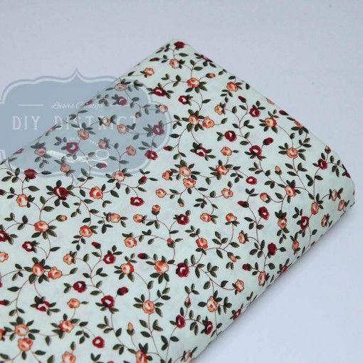 Tissu fleuri style liberty rouge et orange 01