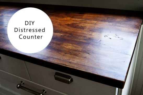 Distressed Butcher Block Countertop How To Distress Wood Wood