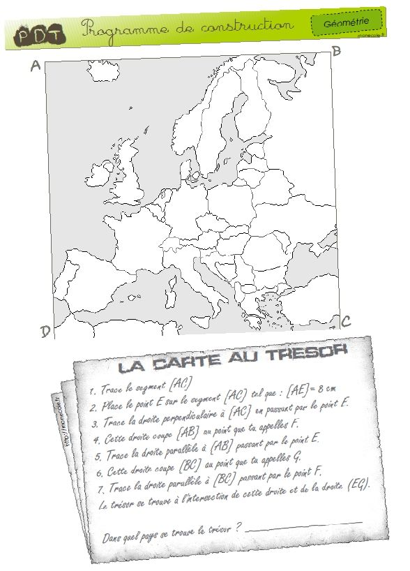 Carte Au Tresor Ce1.Geometrie Carte Au Tresor Cycle 3 French Learning