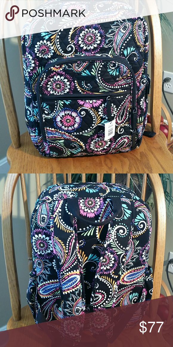 Vera Bradley Large Campus Backpack Bandana Swirl. NEW PATTERN. Side  pockets. Two zipper pockets in front. Main Compartment two slip pockets  with ID window ... 819edb1cea