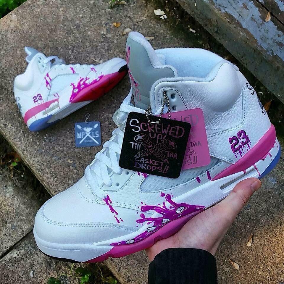 d17804ca5 Custom White   Pink 5s    Jordans