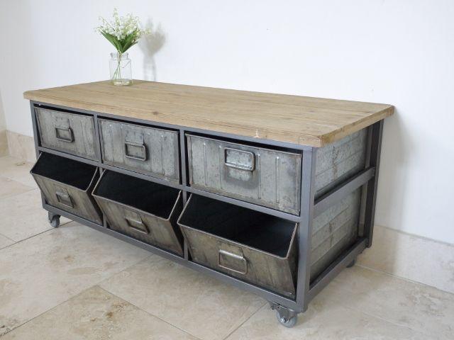 Credenza Industrial Fai Da Te : Industrial metal wood storage cabinet on wheels coffee house