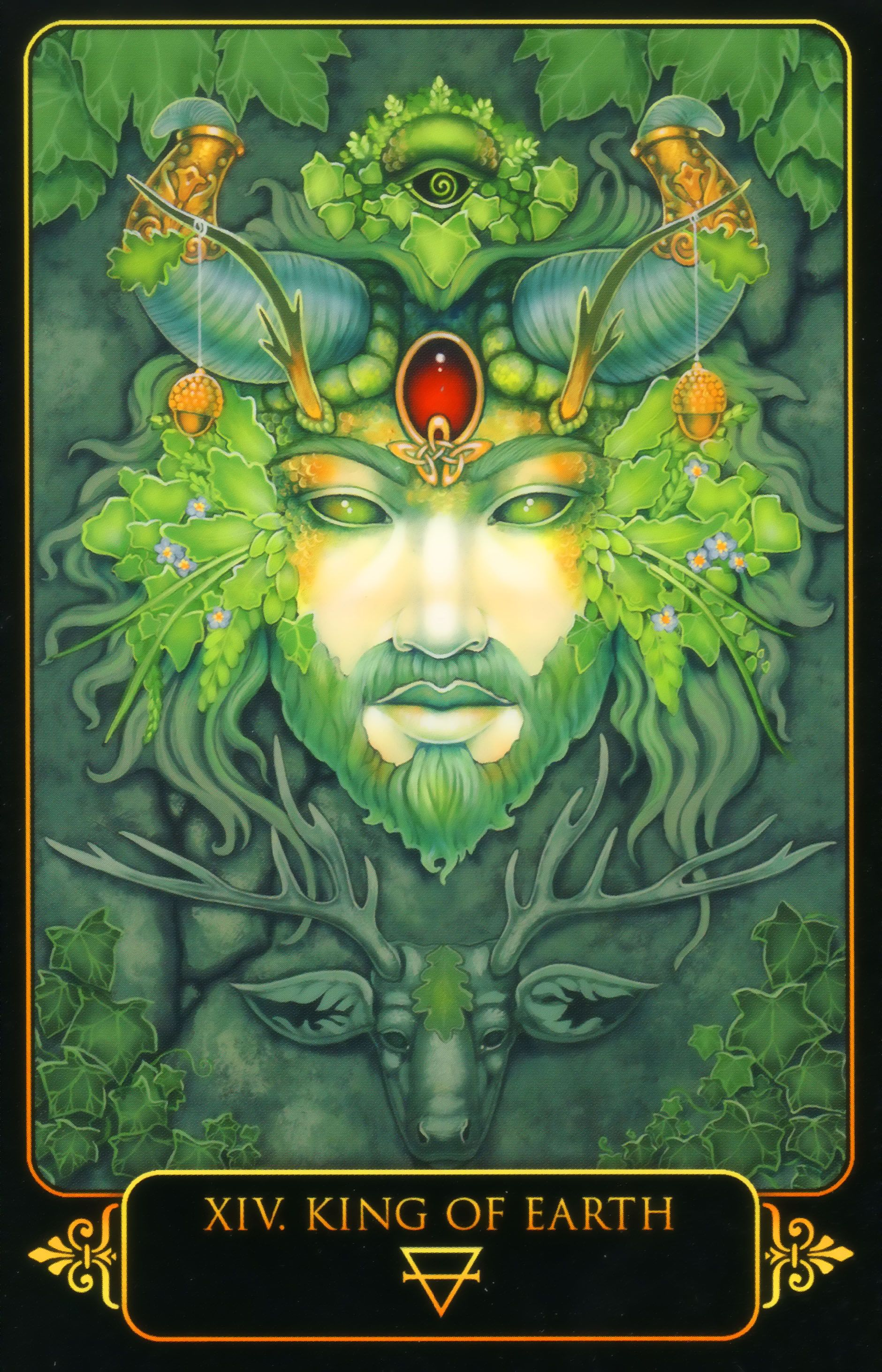 King Of Earth Dreams Of Gaia Tarot By Ravynne Phelan Tarot Cards Art Card Art Tarot Art